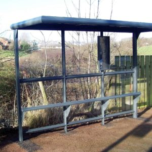 Mersey Flat 3-Bay Flat Roof Bus Shelter - Grey (2)